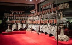 Bianzhong chime dzwony chińczyka brązu antyczni instrumenty muzyczni wśrodku Hubei Małomiasteczkowego muzeum w Wuhan Chiny fotografia stock