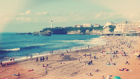 Biarritz Beach Romantic View. Biarritz beach, Casino Building and Lighthouse Stock Images