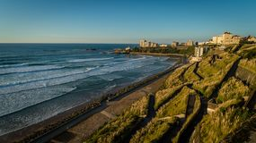 Biarritz beach and waves in fall during sunset royalty free stock images