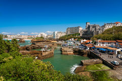 Biarritz, Church and arbor, France Royalty Free Stock Photos