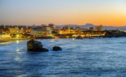 Biarritz city, Bay of Biscay, Basque Country, France. Biarritz city in the Bay of Biscay, France, panoramic view with Pyrenees mountains and Atlantic ocean on Stock Photography