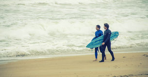 Surfers in Biarritz,France Stock Photo