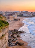 Biarritz, France. Sunset over Biarritz beach, Atlantic coast, France stock image