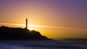 Biarritz-Leuchtturm-Sonnenuntergang stockfotos