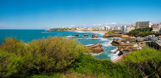 Biarritz, Panorama of lighthouse, beach and city, France Royalty Free Stock Image