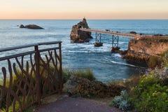 Biarritz Rocher de la Vierge Stockfoto