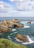 Biarritz Rocher de la vierge, Francia Foto de archivo libre de regalías
