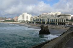 Biarritz by the Sea on a Cloudy Spring Day Stock Photo