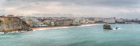 Biarritz Skyline Panorama France. Panoramic view of the Biarritz skyline in the Basque region of southern France. This is a stitched panorama and HDR royalty free stock image
