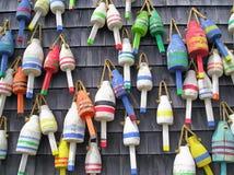 Bóias coloridas da lagosta de Maine Fotos de Stock Royalty Free