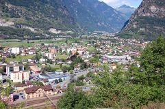 Biasca. Panoramic view over Biasca, Switzerland royalty free stock images