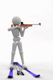 Biathlete standing aiming at a target Royalty Free Stock Photo