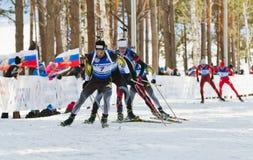 Biathletes at Biathlon  Men's 18 km Mega Mass start Royalty Free Stock Image