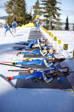 Biathlon. Swedish Biathlon team training for the 2010 winter olympics in vancouver Royalty Free Stock Image
