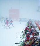 Biathlon. 12/16/2012 Pokljuka, Slovenia. Participants of the 15 kilometre mass start women's race of the Biathlon World Cup race in Slovenian Pokljuka arrive out Royalty Free Stock Image