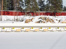 Biathlon arena. Empty biathlon arena a sunny winterday Stock Images