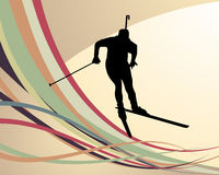Biathlon athlete. Sport background with biathlon athlete. Vector illustration Stock Images