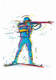 Biathlon. The athlete preparing to the shooting. Vector artwork in the style of paint strokes Stock Images
