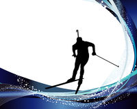 Biathlon athlete. Sport background set with biathlon athlete. Vector illustration Stock Photography