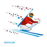 Biathlon for athletes with a disability. Disabled skier. Winter sports - biathlon for athletes with a disability. Disabled skier with a rifle behind his back Stock Images