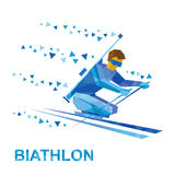 Biathlon for athletes with a disability. Disabled skier. Winter sports - biathlon for athletes with a disability. Disabled skier with a rifle behind his back Royalty Free Stock Photography
