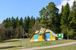 Biathlon base at the forest edge Stock Photo