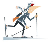 Biathlon competitor. Cartoon biathlon competitor man illustration Royalty Free Stock Photos