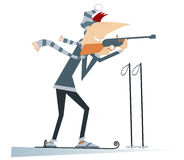Biathlon competitor. Shooting biathlon competitor cartoon illustration Stock Photo