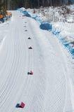 Biathlon, cuesta del esquí con dos carriles Foto de archivo libre de regalías