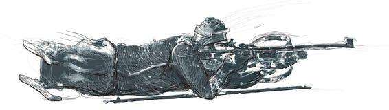 Biathlon di Para Sport e movimento di Para Un multi--laye disegnato a mano Fotografia Stock
