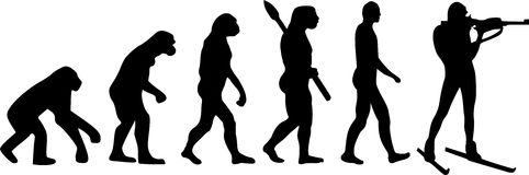 Biathlon Evolution. Biathlon man silhouette shooting Evolution Stock Images