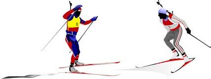 Biathlon guys silhouette Stock Photo