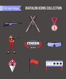 Biathlon icons set. Flat style design Stock Photos