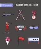 Biathlon icons set Stock Photos