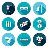 Biathlon Icons Set. Vector Illustration Stock Image