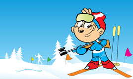 Biathlon. The illustration shows the sports biathlon in cartoon style. Illustration done on separate layers Stock Photo