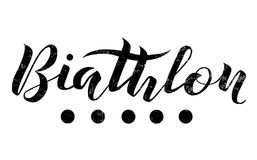 Biathlon lettering text on white background,  illustration. Biathlon calligraphy. Stock Photos