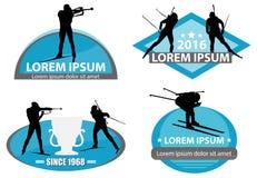 Biathlon logo set Royalty Free Stock Image