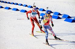 Biathlon, Martin Fourcade smiling in front of Tarjei Boe Royalty Free Stock Photography