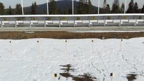 Biathlon. Panorama of targets for shooting during the biathlon. The numbering of the targets.  stock video