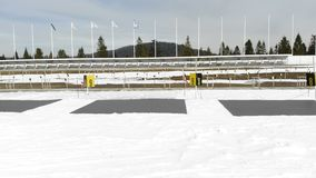 Biathlon. Panorama of targets for shooting during the biathlon. The numbering of the targets.  stock video footage