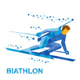 Biathlon player going skiing fast with a rifle Royalty Free Stock Photo