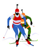 Biathlon race. Two biathlon runners at the competition Royalty Free Stock Images
