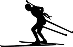 Biathlon Runner. Silhouette of a Biathlon Runner Stock Photo