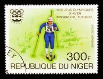 Biathlon, serie di Innsbruck dei giochi olimpici, circa 1976 Fotografia Stock Libera da Diritti