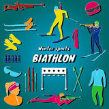 Biathlon set. Flat design biathlon aquamarine gradient background Stock Photography