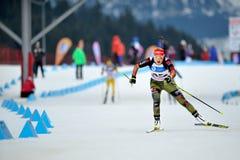 Biathlon ski competitor Royalty Free Stock Photos