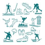Biathlon, sled, skis and other winter sports monochrome illustrations. Symbols for labels and logos design Stock Photo