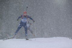 Biathlon in snow - Barbora Tomesova Stock Image