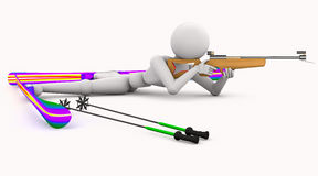 Biathlon sport shoots lying Royalty Free Stock Photos